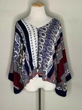 Labor Of Love Women's Boho Blouse Floral Carousel Pattern Top Zip Sz M/L... - $22.95