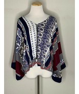 Labor Of Love Women's Boho Blouse Floral Carousel Pattern Top Zip Sz M/L... - $22.95