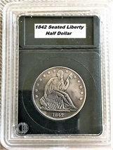 1842 Half Dollar seated Liberty,Guaranteed 90% pure silver, With and in ... - $27.95