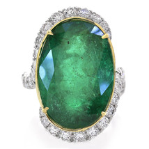 26.66 Carat Oval Shape Emerald and Diamond Ring 18K Yellow Gold & Platinum - £41,615.71 GBP