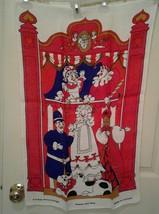 Vintage PUNCH & JUDY Irish Linen Kitchen Towel Pamela Kay Linen Print De... - $65.43