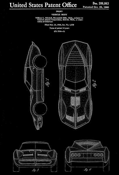 Primary image for 1966 - Mako Shark Corvette - W. L. Mitchell - Patent Art Poster