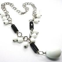 Collier Argent 925, Onyx Noir , Agate Blanc Goutte, Chute Pendentif image 1