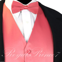 Coral Solid New Men Tuxedo Suit Vest Waistcoat and Bow tie Prom Wedding ... - $17.80+