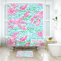 Flower Lilly Lobstah Roll Shower Curtain Waterproof & Bath Mat For Bathroom - $15.30+