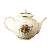Lenox Holiday Tartan Gold-Banded Carved Teapot  NEW IN BOX - $128.69