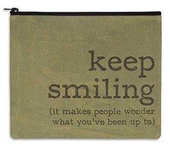 "Large Makeup Bag 11""x9"" Keep Smiling Vintage Style - €13,90 EUR"
