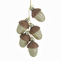 KURT S. ADLER GOLD AND COPPER GLITTERED ACORNS CHRISTMAS TREE ORNAMENT - $8.88