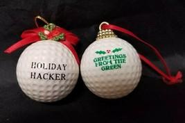 Real Golf Ball Christmas Tree Ornaments Set of 2 Holiday Hacker & Greeti... - $14.21