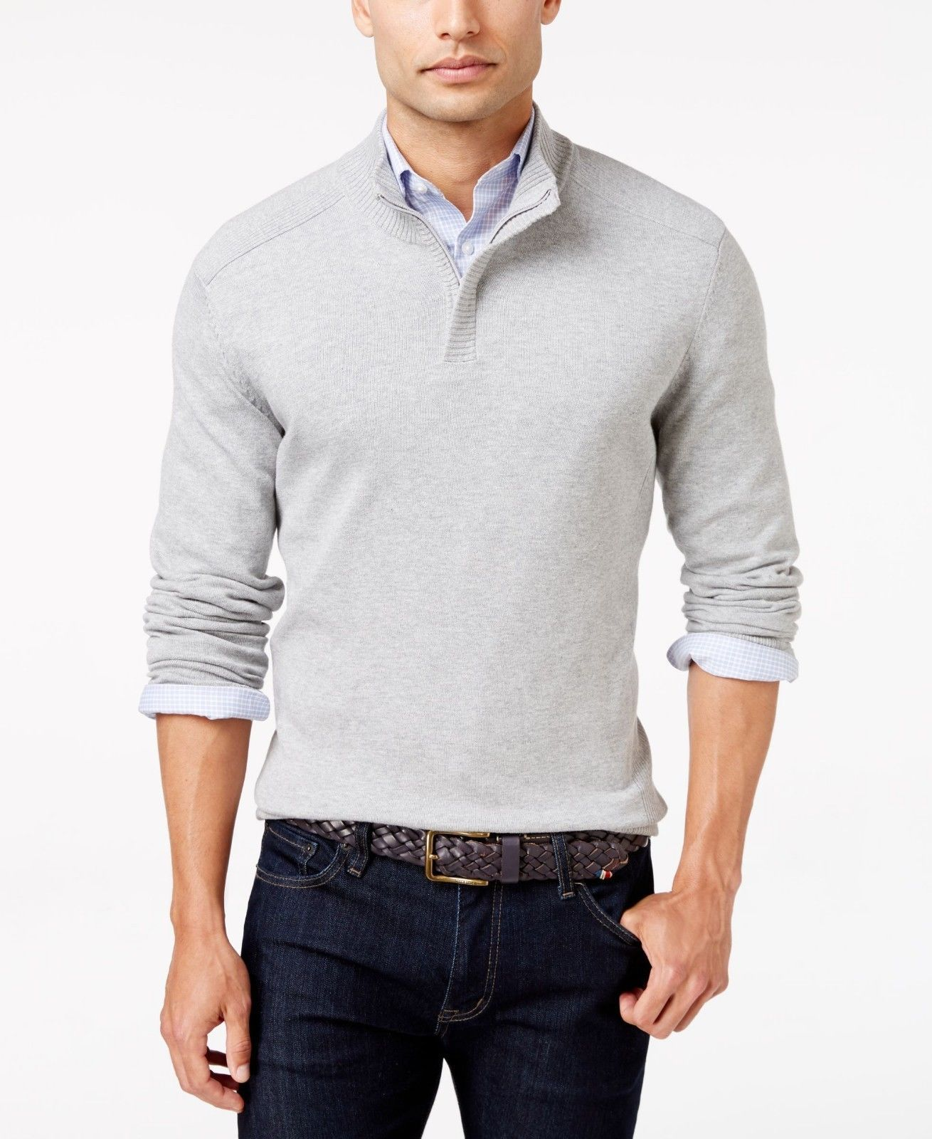 Alfani Men's Marled Sweater Grey Medium