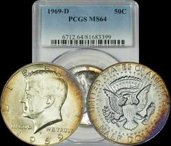 1969-D Kennedy Half Dollar PCGS MS64 Purple Blue Toned Coin - $45.05