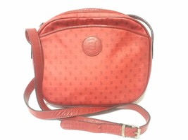 80's vintage Fendi red oval round shape shoulder purse with small FF logo print  - $182.00