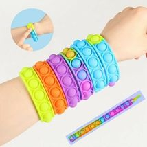 Push Bubble Sensory Toy Fun Color Silicone Bracelet Decompression Anxiety Wrist image 3