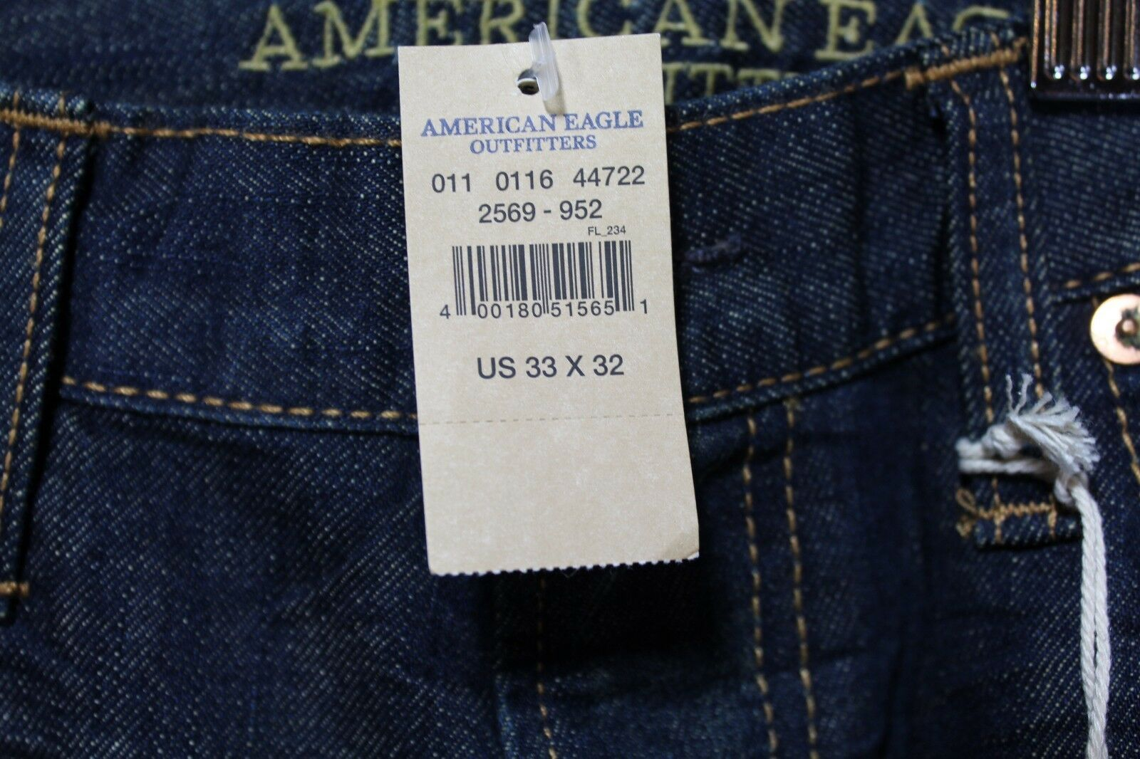 NEW Men's AE Slim Straight Jeans Dark Blue Wash American Eagle 33 x 32 AEO