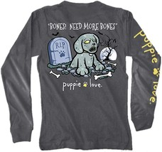 Puppie Love Rescue Dog Adult Unisex Long Sleeve Graphic Tee/T-Shirt, Zombie Pup