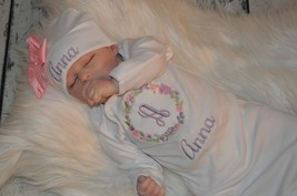 Personalized Newborn Girl Flower Outfit Monogrammed Baby Gown & Hat with Bow Set - $31.00