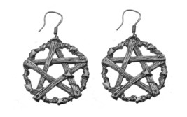Tree Pentagram design Real Sterling Silver 925 Earrings Protect Nature C... - $66.83