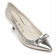 Women's AK Anne Klein Sport FLOUNCY Cap Toe Kitten Heels Dress Pumps  Silver - $49.49