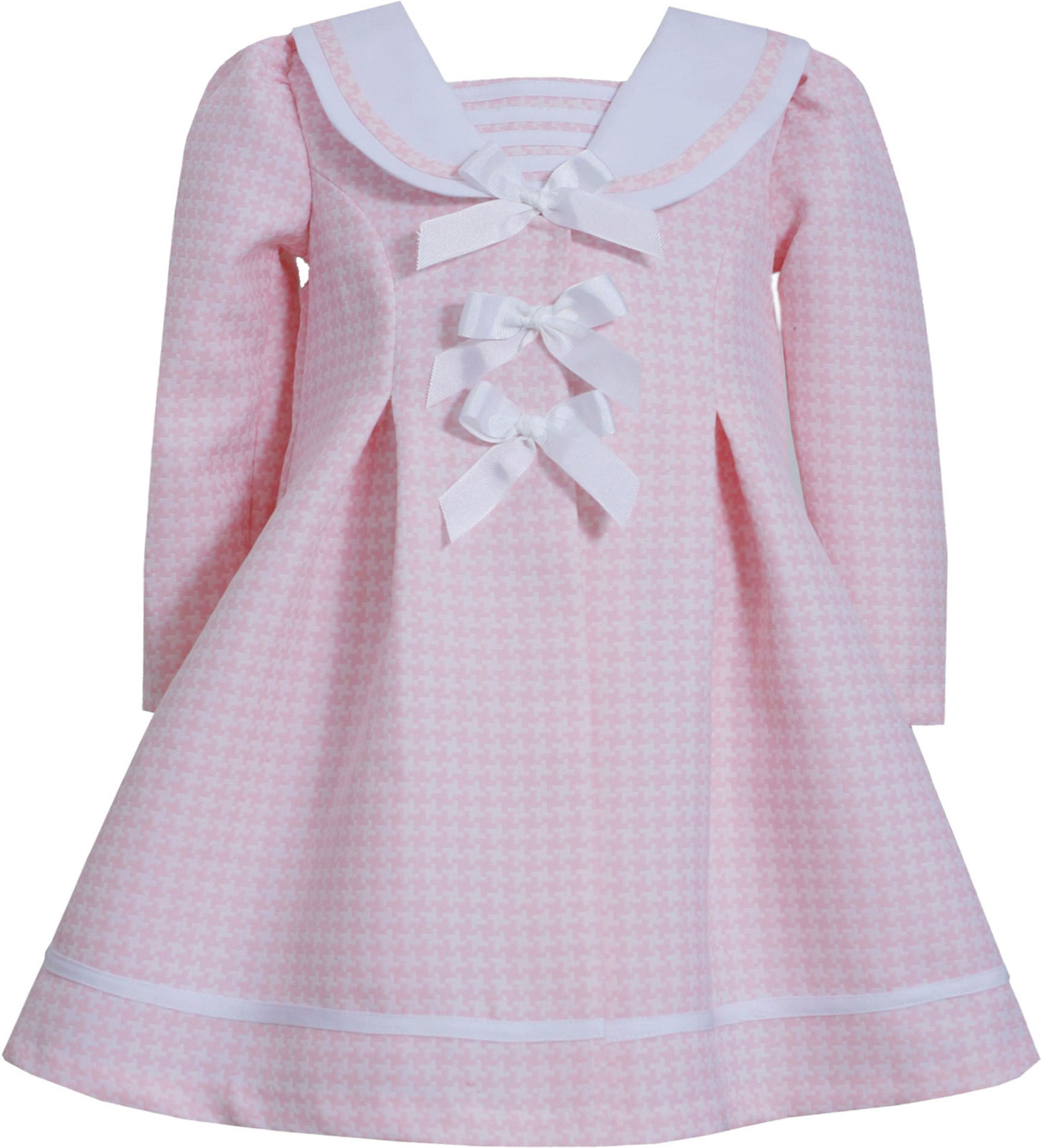 Bonnie Jean Baby Girl 3M-9M Pink Triple Bow Jacquard Houndstooth Dress/Coat Set