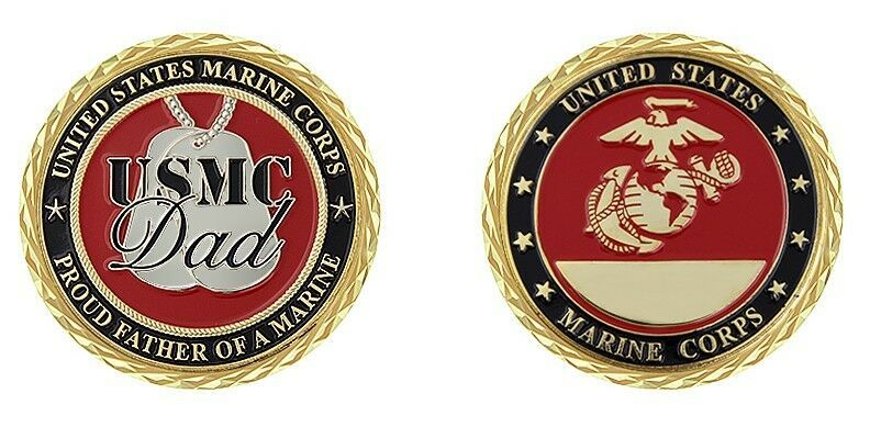 "PROUD FATHER OF A MARINE MARINE CORPS 1.75"" GOLD EGA CHALLENGE COIN USMC DAD"