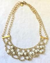 Cohesive Jewels Imitación Perlas Y Cristal Oro Chapado Vieira Collar Babero Nwt image 2