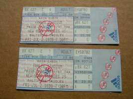 Lot Of 2 MLB New York Yankees July 2, 1999 Vs. Baltimore Orioles Ticket ... - $7.69