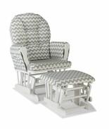 Nursery Glider Ottoman Set White Wooden Frame Gray Chevron Cushions Baby... - $179.09