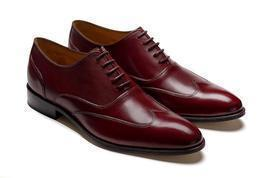 Handmade Men Wingtip formal Shoes Men burgundy shoes Men designer leathe... - $169.99