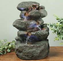Cascading Stacked Rocks Electric Tabletop Water Fountain with LED Lights - $77.95