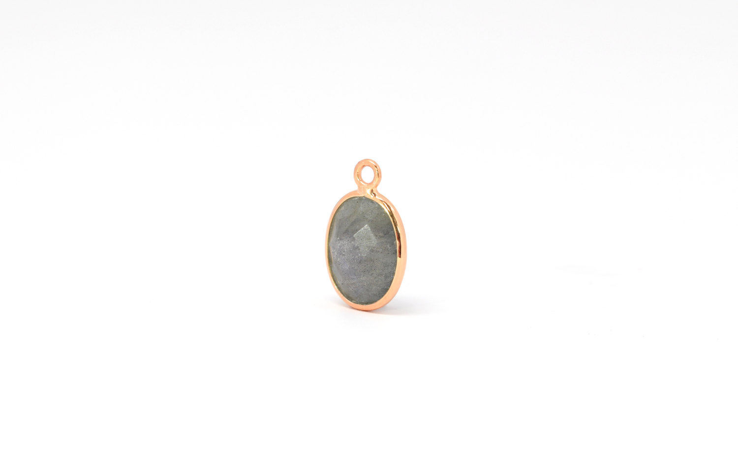Primary image for  Drop, Oval Labradorite, Rose Gold Plated Sterling Silver, 14x10mm, 1pc (7072)/1