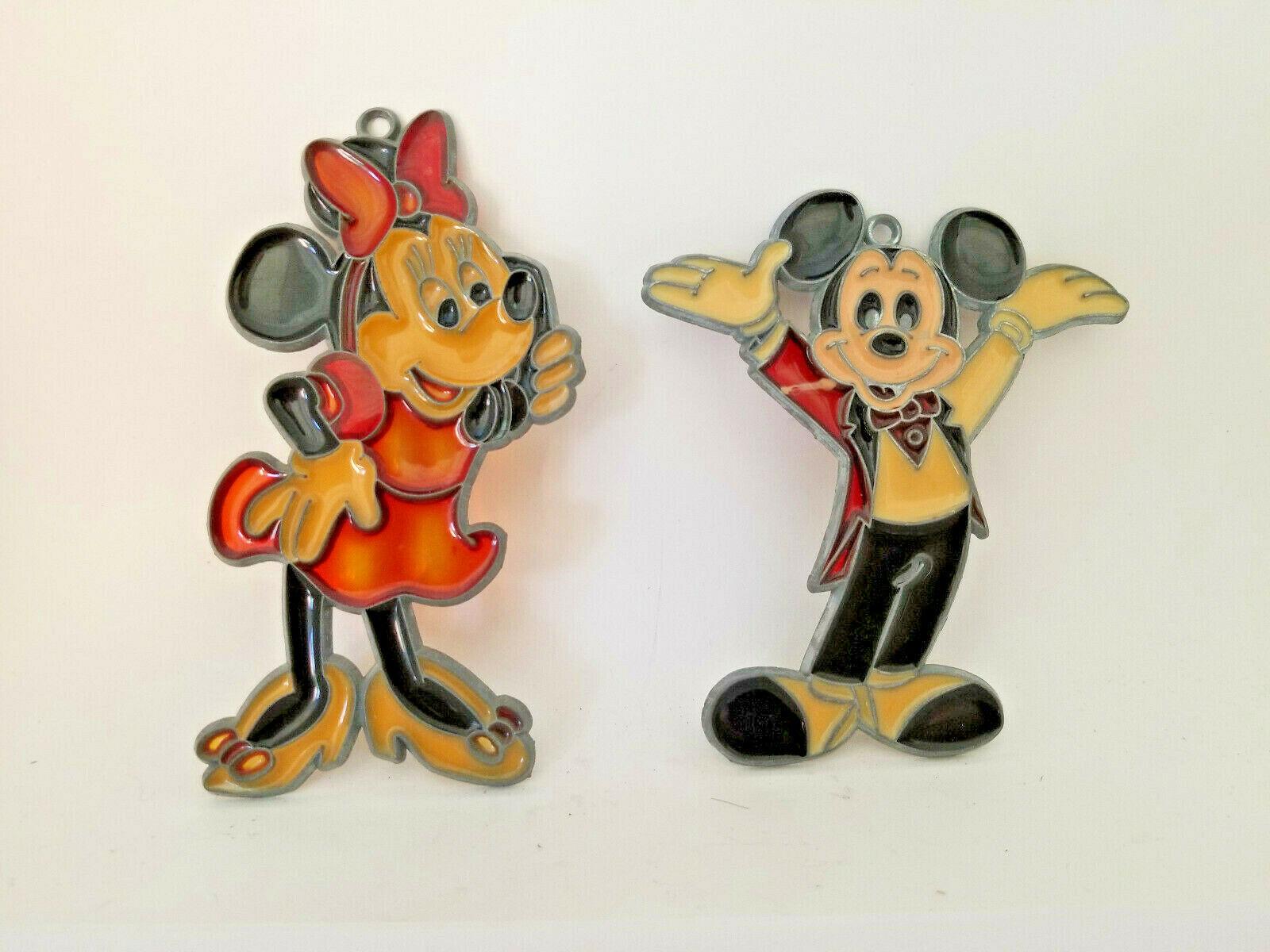 Vintage Walt Disney Mickey and Minnie Stained Glass Suncatcher Window Decoration - $14.99