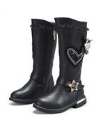 Genuine leather Girls Black Boots Fashion Girls Snow Boots Waterproof wa... - $69.99+