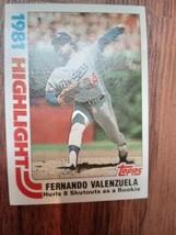 1982 Topps Card #6 Fernando Valenzuela 1981 Highlight Los Angeles Dodgers  - $4.95