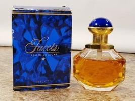 Avon Facets 1.8 OZ Eau De Cologne Spray Decorative Glass Bottle 80% Full - $11.62