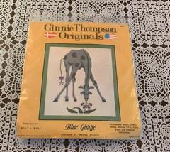 Brand New Ginnie Thompson Counted Cross Stitch Kit MS1 Blue Giraffe 7 x ... - $11.49