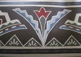 Wallpaper Border Art Deco Blue Red Flower Beige Brown 553235 6 3/4 Charcoal deco - $14.84