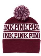New Victoria's Secret PINK Beanie Hat Burgundy/Maroon White Hot Deal - ₨828.59 INR