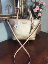 New Coach Tote Bag Park Metro F25663 Small Metallic Gold Leather Crossbo... - $98.95