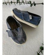 Baby Toms Denim Canvas Blue Shoes T5 Hook and Loop Flats Loafers Size 5 ... - $16.83