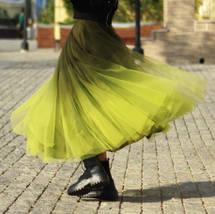 OLIVE GREEN Full Tulle Skirt Green Tie Dye Long Tulle Skirt High Waisted A Line  image 6