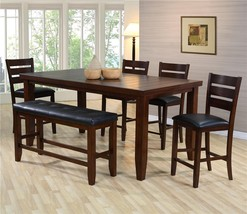 Crown Mark D2752 Bardstown Traditional Pub Dining Table w/ Bench Set 6Pcs