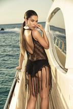 Women's Solid Black Mesh Fringe Beach Swimsuit Cover Up image 2