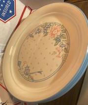 "Corelle Corning SYMPHONY 5pc Sandstone Beige Blue Trim Rim Dinner Plate 10"" VTG - $54.99"
