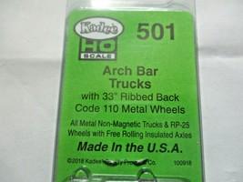 Kadee # 501 Arch Bar Metal Trucks Code 110 Metal Ribbed Wheels 1 Pair HO Scale image 2