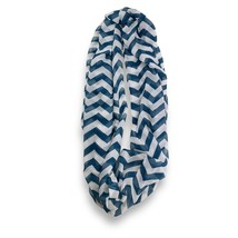 Blue White Chevron Stripped Infinity Scarf Loop Sheer Wrap Scarves - $9.49