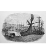 FRANCE Calais Harbor - 1821 Engraving Print Cpt. Batty - $16.20