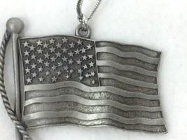 Gloria Duchin Pewter Ornament American Flag Vintage 25773 - $17.81