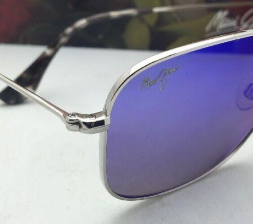 Polarisierend Maui Jim Sonnenbrille Titan Wiki Mj 246-17 Silber W/ Blau Hawaii