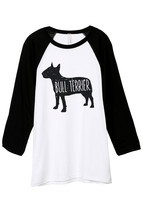 Thread Tank Bull Terrier Dog Silhouette Unisex 3/4 Sleeves Baseball Raglan T-Shi - $24.99+