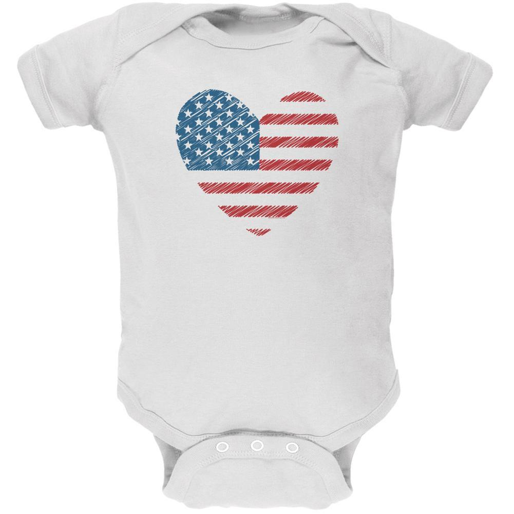 4th of July Scribble American Flag Heart White Soft Baby One Piece